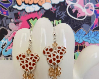 Mickey Mouse Double Sided Giraffe Print Dangle Earrings