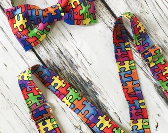 Little Man Bowtie and Suspender Set -Autism Awareness Puzzle Pieces Baby/Toddler/ Young Boy Bow Tie