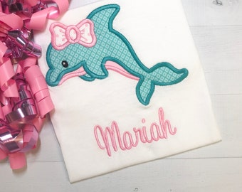 A Dolphin Bow Applique  Embroidered Name FREE