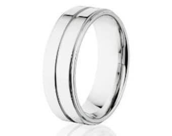 Men's Cobalt Wedding Rings, Cobalt Chrome Wedding Band, USA MADE: COB-7RC1G-P
