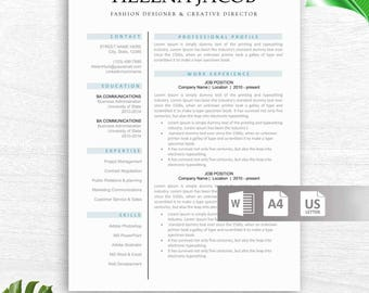 Modern Resume Template | CV Template + Cover Letter + Reference Letter for Word | Instant Digital Download | Mac or PC