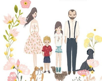 Illustrated family portraits!