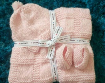 Baby Pink Sparkle Hat, Blanket and Booties