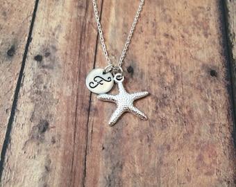 Starfish initial necklace - starfish jewelry, beach necklace, ocean jewelry, sea necklace, beach jewelry, silver starfish necklace