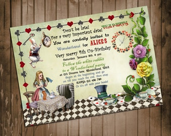Alice in Wonderland Birthday Invitation - Mad Hatter Tea Party - Printable DIY