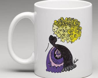 Illustrated MUG design dreamy romantic evening gown Princess