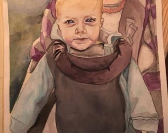 Custom Watercolor Portrait-Polaroid Style