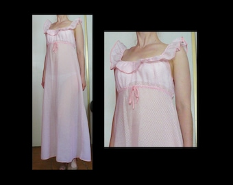 Vintage 70s pink & white gingham peasant maxi dress - sleeveless long sheer cotton nightgown w/ empire waist + collar ruffle - size S / M