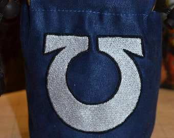 Dice Bag Warhammer Ultramarine  embroidered suede dice bag