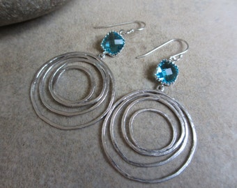 Teal Silver Circle Earrings, Circle, Round, Modern, Lightweight, Sea Green, Everyday Earrings, Irisjewlerydesign