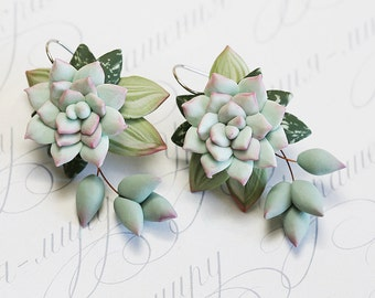Mint Succulent Earrings. Polymer clay earrings. Dangle earrings. Polymer clay jewelry. Miniature Plant Earrings. Wedding Succulent Jewelry
