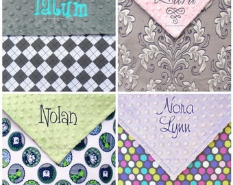 Custom Crib Blanket, Personalized Minky Blanket , Monogrammed Blanket, For Baby Boy , For Baby Girl Nursery Bedding , 36x52 Design Your Own