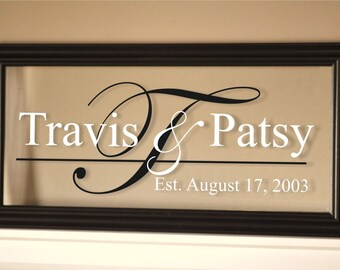 Personalized Picture Frame Family Name Sign Glass Sign 11x21