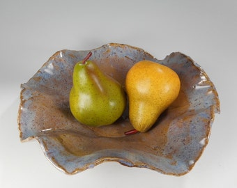 Stoneware serving bowl, hand built pottery bowl, pottery serving bowl, ceramic serving bowl, pottery fruit bowl, home decor pottery vessel