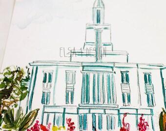 Payson, Utah LDS Temple - Watercolor Temple 8x10  print by Elsa Ferre