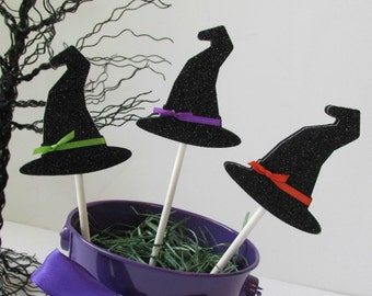 Glitter Witch Hat Cupcake Toppers - Set of 12