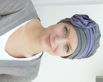 Chemo hat   stylish cancer headwear   hat for womens' hair loss   chemo headwear - avail. in taupe/mauve soft jersey, sized XS S M L XL