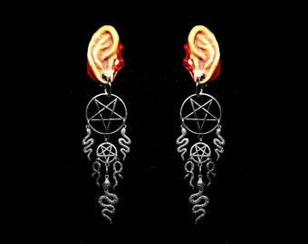 SNAKE WITCH, ear weights, inverted pentagram, snake ear weights, satanic jewelry, black magic, black witchery, occult jewelry, satanic bible