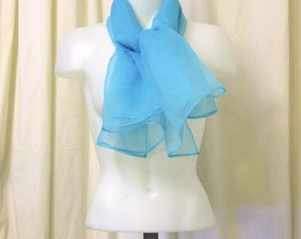 1950's Style Scarf, Oversize Hair Scarf, Neck Scarf, Poodle Scarf, Head Wrap in Sheer Turquoise Nylon Organza