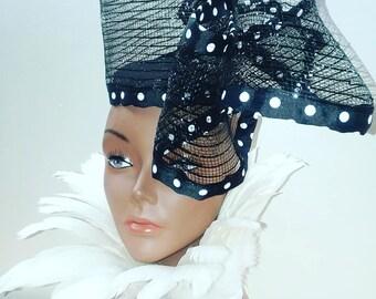Black and White Polka Dot Fascinator