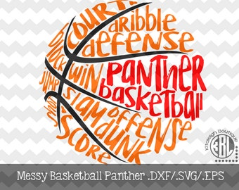 Messy Panther Basketball design INSTANT DOWNLOAD in dxf/svg/eps for use with programs such as Silhouette Studio and Cricut Design Space