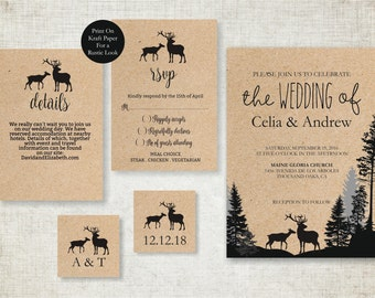 Rustic Fall Wedding invitation template, Deers Wedding Invite printable, Camping Wedding Invitation, Digital PDF, simple wedding invitations