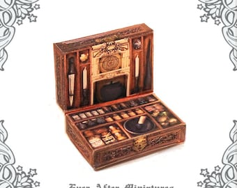 WITCH POTION Kit Miniature Case –1:12 Openable Dollhouse Magic Witch Potion Case Apothecary Cabinet Halloween Miniatures Printable DOWNLOAD