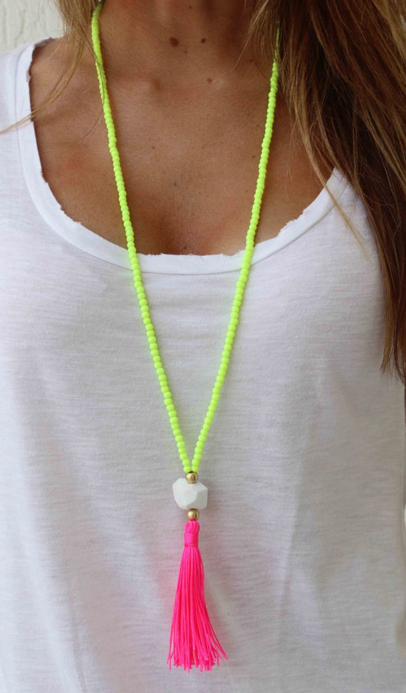Best Long Beaded Necklace Neon Yellow necklace Hot pink Tassel EU09