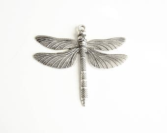Silver Dragonfly Charm, Large Dragonfly Pendant - 2 pieces (337)