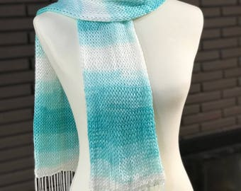 Mint and White Scarf with Fringe