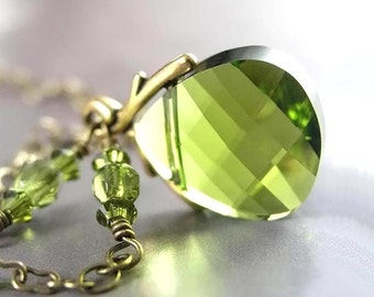 Olive Green Necklace Antique Gold Swarovski Green Crystal Necklace Vintage Style Spring Leaf Green Pendant Drop Necklace