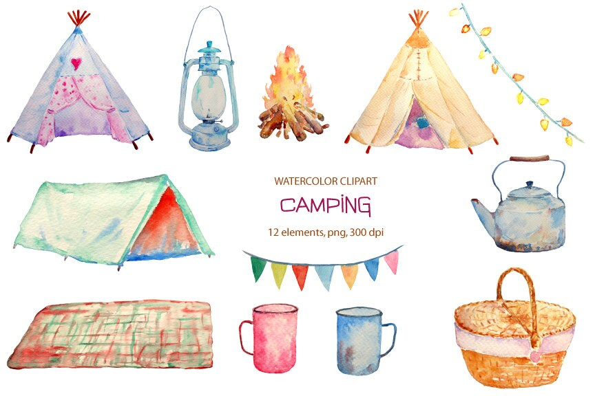 Hand Painted Watercolor Camping Clipart Teepee Tent Camp Fire