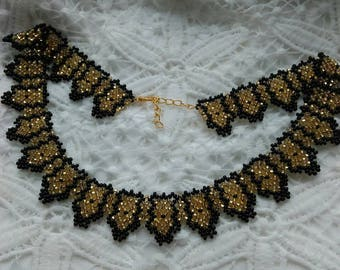 Beaded Necklaces.  a gift to a woman.gold jewelry Ukrainian jewelry evening decoration handmade jewelry. black jewelry. beading patterns