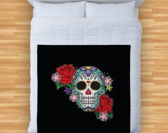 Candy Skull Green Rose Design Soft Fleece Blanket Cover Throw Over Sofa Bed Blanket