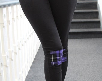 Pretty Disturbia Handmade Punk Grunge Goth Rock Purple Tartan Patchwork Leggings
