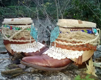 Upcycled Cowboy Boho Gypsy Hippie Boots- Custom Vintage Repurposed- Spirit Walk