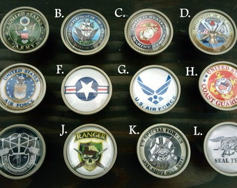 Army, Air force, Marine, Navy,  and Coast Guard knobs , Special Forces glass cabinet Knob, Glass knob, Military Gift, Military support