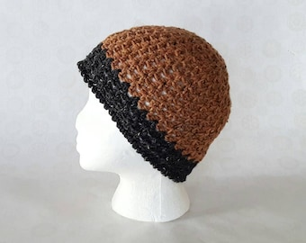 Color Block Crochet  Tweed Wool Beanie - Rust/ Charcoal