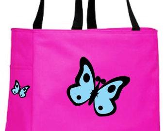 Butterfly tote bag - full colour butterflies tote bag - original design book/toy bag - kids sports gym bag - playdate bag - butterflies
