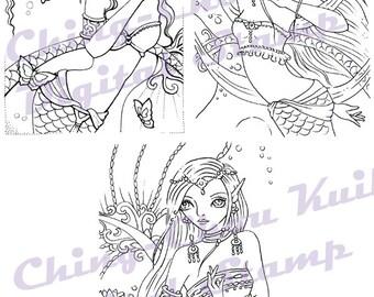 Dancing Mermaid Digital Stamp Set of 3 Images - Instant Download / Butterfly Lotus Moon Dance Fantasy Fairy Girl Art by Ching-Chou Kuik