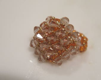 Beadwork Beaded Ring, Orange Beaded Ring, Glass Crystal Ring, Non Metal Ring Jewelry, Size 5 1/2 Ring, Small Ring Size, Gift For Her, OOAK
