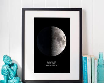 Custom Moon Phases, Personalized Moon Phase, Custom Moon Chart, Custom Moon Print, Custom Coordinates Print, Husband Gift, Wedding Gift.