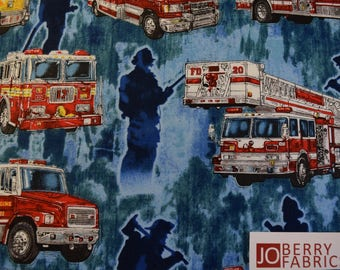 Fire Trucks from the 5 Alarm Collection by Dan Morris Designs for Quilting Treasures.  JoBerry Fabrics, Fabric by the yard.