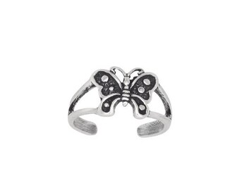 ON SALE Sterling Silver .925 Butterfly Toe Ring adjustable size   Made In USA