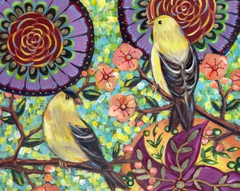 Birds in Spring #1 6x6 inch Archival Goldfinch Print on Wood