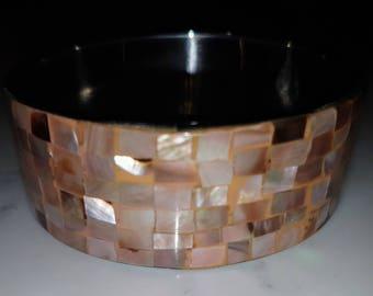 Mosaic mother of pearl cuff bracelet, vintage bracelet, taupe, luster, pink, vintage jewelry, vintage accessories