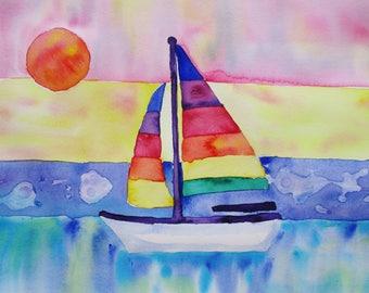 Sailboat watercolor painting, Original watercolor painting, sailboat at sunset, 10x13 inches