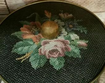 Vintage Guildcraft Tin, Needlepoint Tin, Roses, Sewing Notion Tin, Vintage Storage, Vintage Tine