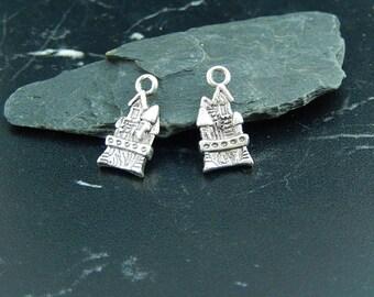 2 pendant silver Castle charms