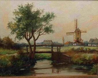 Vintage oil painting signed  Jan Muller windmill landscape